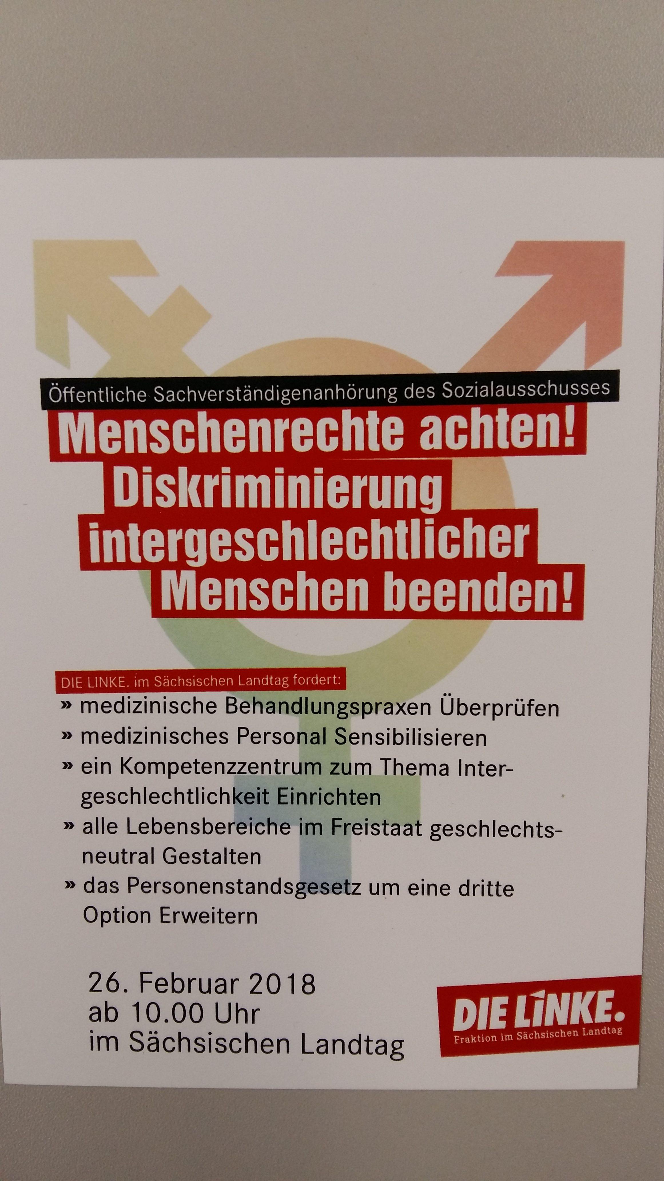 Öffentliche Anhörung im Sächsischen Landtag
